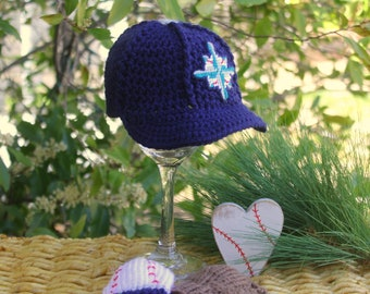 Baseball Hat with Glove and Ball Mittens, Seattle MARINERS Baby Hat, Baby BASEBALL Mittens (Handmade by me and not affiliated with the MLB)