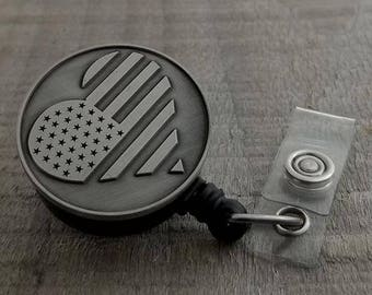 Nursing Badge Reel - Retractable ID Badge Reel - American Heart - The Fancy Badger