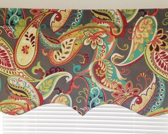 Scalloped Valance 52 x 16 50x 16 lined window valance decorative valance Whimsy Paisley Mardi Gras Whimsy Multi Kitchen Valance