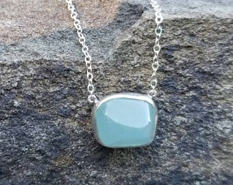 Aquamarine Necklace Aquamarine Necklaces Aquamarine Jewelry March Birthstone Necklace Womens Gift Something Blue Gift Bride Sterling Silver