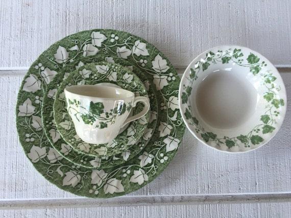 Like this item? & Vintage green and white ivy dinnerware Verdigris Churchill