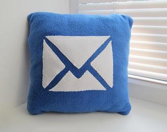 12 x 12 mail Pillow - handmade pillow - decorative pillow - geekery pillow