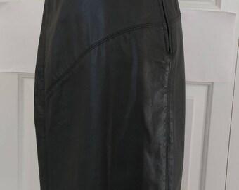 Vintage High Waist Leather Pencil Skirt/Saks Fifth Ave/High Waist Pencil Skirt
