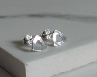 Silver Triangle Earrings - Sterling Silver Hammered Studs - Handmade Jewellery - Etsy UK Jewellery - Minimalist Ear Studs