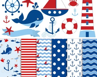Nautical Clipart & Nautical Digital Paper - Vector Nautical Clipart, Sea, Nautical Clip Art and Nautical Digital Paper