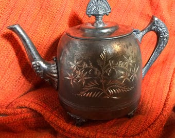 Antique Victorian Silverplate Teapot PS Co. Anchor symbol very Detailed Fancy