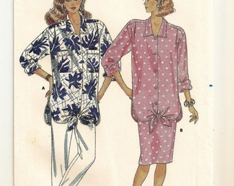 A Collared, Long Maternity Shirt, Straight Skirt, and Tapered Cropped Pants Sewing Pattern: Uncut - Sizes 8-10-12 • Butterick 5614