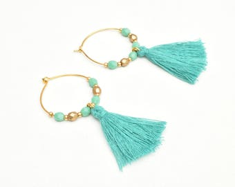 Turquoise earrings, Tassel earrings, Tassel jewelry, Gold tone hoops, Beaded hoops, Hoops with tassels, Gift for her, Boho earrings