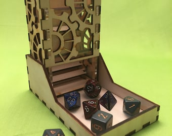Gears style, Deluxe dice tower, laser cut and unique, for role playing and tabletop gaming