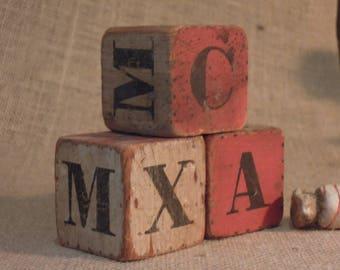 Vintage Wooden Blocks Set of Three / Photo Prop / Little Child's Blocks / Baby Room Decor / Nursery / Victorian Litho Blocks