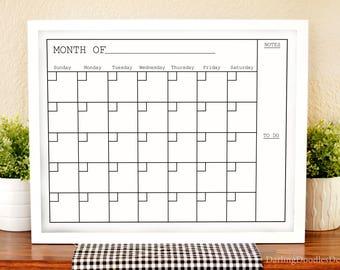 Modern Black and White Monthly Calendar - Dry Erase Board Calendar Inserts - 16x20 - 20x30