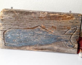 Vintage blue whale sign carved wood fish signage old wooden whale hanging sign nautical beach decor