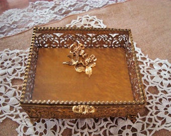 Mid Century Glass Top Gold Ormolu Footed Jewelry Casket Box