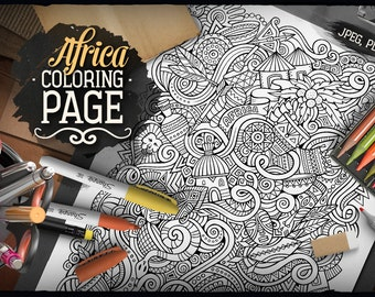 AFRICA Digital Coloring Page, Adult Coloring, African Doodles Art, Printable, Coloring sheet, Ethnic Illustration, Art Therapy, Download