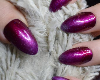 Purple Gradient Fake Nails, Long Almond False Nails, Hand Painted Press On Nails, Long Nails, Nail Designs, 20 Full Cover Nails, Glue On