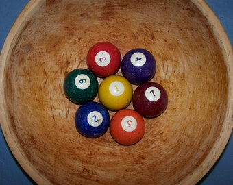 Collection of 7 vintage billiard or pool balls