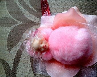 OOAK Christmas angel Ornament  Irish Flower Fairy baby collectible gift wccofg
