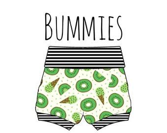 PREORDER Kiwi bummies, kiwi diaper cover, baby fruit shorts, kiwi baby shorts, fruit print shorties, baby bummie, fruit bummies, kiwi shorts