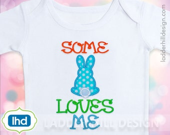 Some Bunny Loves Me Easter Machine Embroidery-- Easter Bunny Outline Applique Design No.  EA030