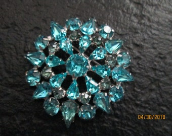 Vintage JOSEPH WIESNER Blue Rhinestone Pin