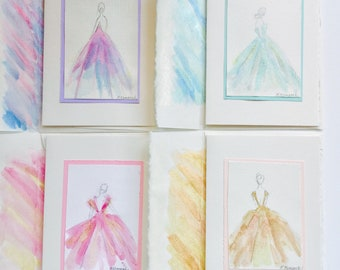 Shimmer Girl, original, watercolor, notecards with envelopes.