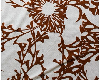 60s Tropical Cotton Fabric - 3.8 Yards x 44 Inches - 1960s Summer Tropical Cocoa Brown & White Yardage - Tiki Leaves - Almost 4 Yards -46673
