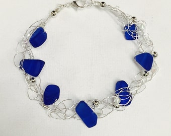 Deep Blue Sea Glass Silver Crochet Wire Bracelet With Crystals And Silver Beads
