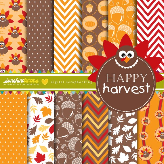 Happy Harvest Thanksgiving Digital Scrapbooking Paper Set
