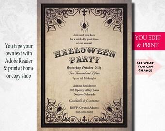 Halloween Party Invitation Spider, Halloween Invitation, Halloween Party Invitation,  Printable,  Instant Download,  Diy
