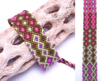 Friendship bracelet - double diamond pattern - embroidery floss - knotted - macrame - woven - string - thread - handmade - cotton - wide