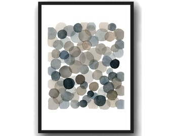 Watercolor Black bubbles  Abstract watercolor print, abstract painting dots