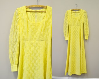 1960s Yellow Lace Dress