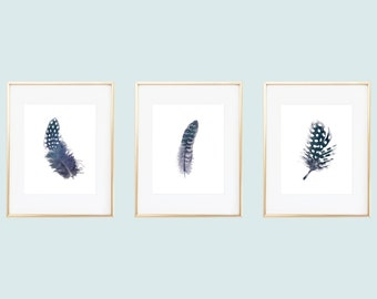 Navy Feather Prints / Feather Printables / Indigo Feathers / Feather Wall Art / Feather Art / Instant Download