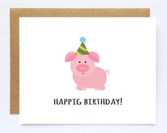 Kids birthday card etsy funny birthday card cute pig card kids birthday cards cute birthday gift bookmarktalkfo Choice Image
