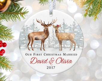 Wedding Gifts for Couple First Christmas Ornament Married Wedding Ornaments Personalized Wedding Christmas Ornament Mr and Mrs Ornament