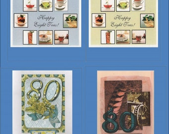 Handmade 80th Birthday Cards -- 4 Variations Milestone card - Free Shipping in USA