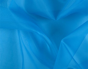 Bright Blue Silk Organza, Fabric By The Yard