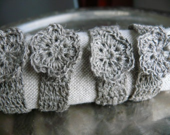 Wedding napkin rings, rustic table decor, crochet natural linen napkin rings, Set of 4, 6, 8, 12, Chic, wedding decor, linen napkin rings