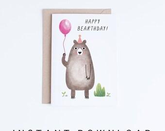 Printable Kids Birthday Cards, Girls Birthday Cards Instant Download, Niece Digital Card, Pink Birthday Bear Card, Childrens Illustration