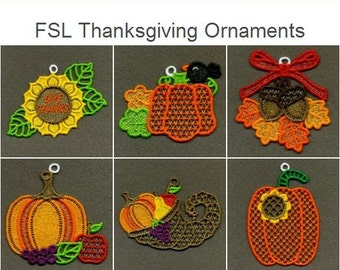 FSL Thanksgiving Ornaments Free Standing Lace Ornaments Machine Embroidery Designs Instant Download 4x4 hoop 10 designs APE2223