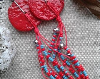 red earrings, recycled paper jewelry, seed beads earrings, paper mache earrings, long earrings, unique boho chic earrings, irregular shape