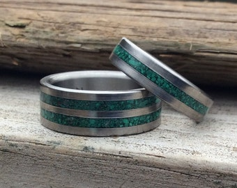 Titanium Rings, Wedding Rings, Malachite Rings, Wedding Band Set, His and Hers Rings, Personalized Rings, Matching Ring Set, Engagement Ring