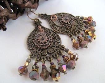 Gold Rush Chandelier Earrings, Dangle Earrings, Gothic Earrings, Mixed Metal, Fancy Earrings, Beaded, Glass Bead Earrings, Moonlilydesigns