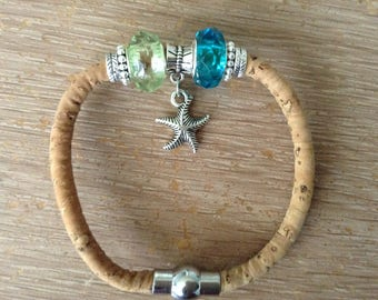 Green and Blue Starfish Cord Cork Bracelet
