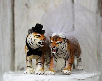 Tiger Cake Topper, Wedding Cake Topper, Animal Cake Topper, Safari-Wild-Bride-Groom-Destination Wedding, Zoo Animal, Bengal Tiger Cake Top