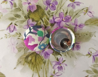 Fabric Button Earrings / Wholesale Jewelry / Gifts for Her / Stud Earrings / Tropical Print / Liberty of London Print / Birthday Present