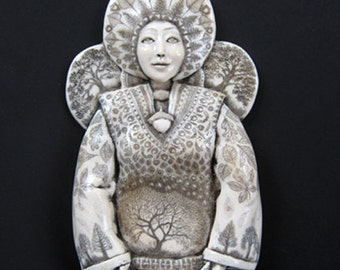 Woodland Goddess engraved sculpture wall plaque scrimshaw resin
