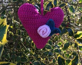Crochet Heart Hanging Decoration