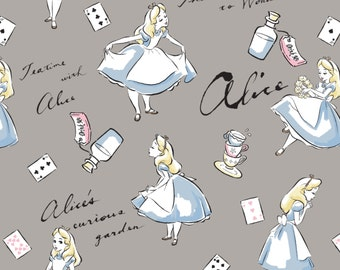 FLANNEL Disney Alice in Wonderland Fabric From Camelot By the Yard