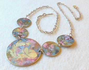 """Forced Patina """"Marble Taffy"""" Round Link Necklace with masked poppy design, Featured in Belle Armoire Jewelry  Winter 2018"""